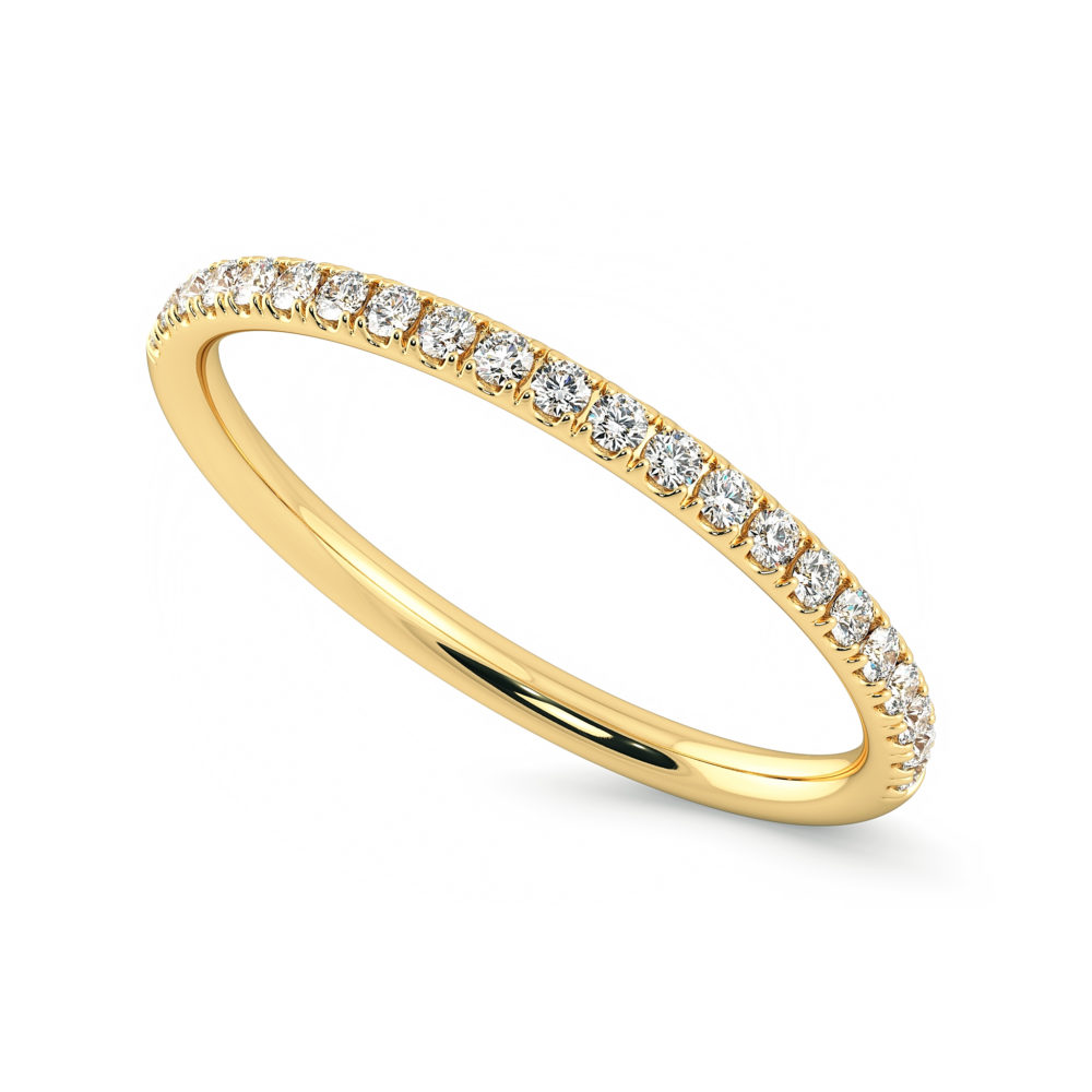 ladies wedding ring yellow gold diamond pave taylor and hart