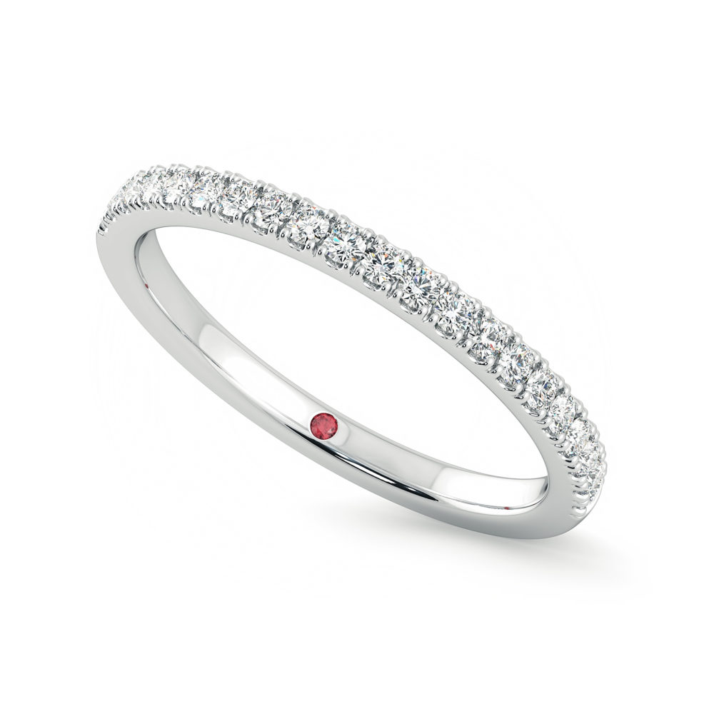 Wedding ring 1.3mm diamond pave platinum taylor and hart