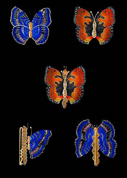 Simei Taylor and hart design consultant sketch jewellery butterfly