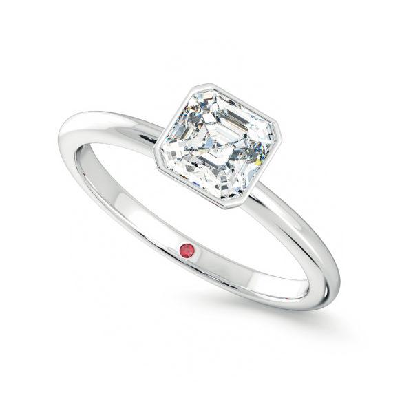 purity bezel asscher cut solitaire diamond platinum engagement ring