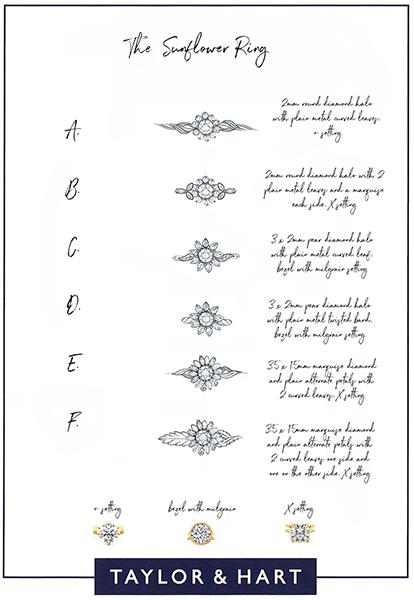 organic engagement ring sketch floral pattern