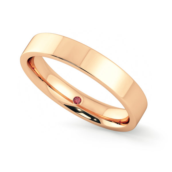 flat 4mm rose gold wedding ring