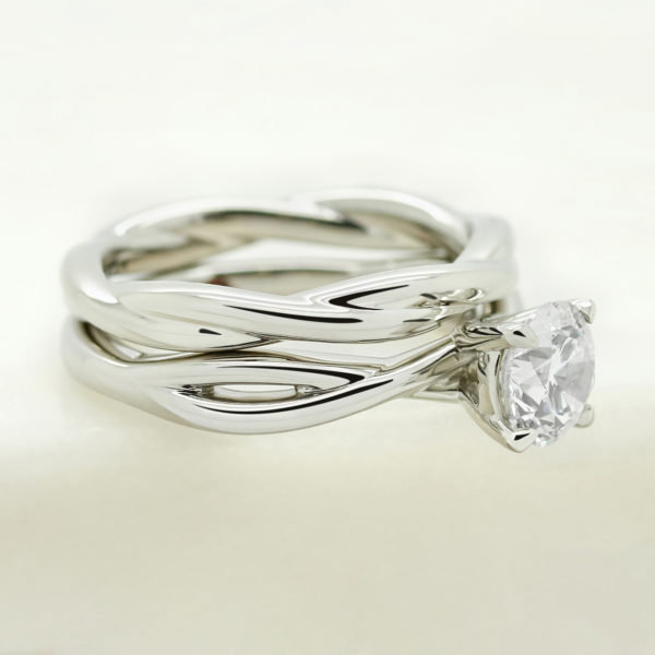 twisted polished band matching engagement and wedding ring