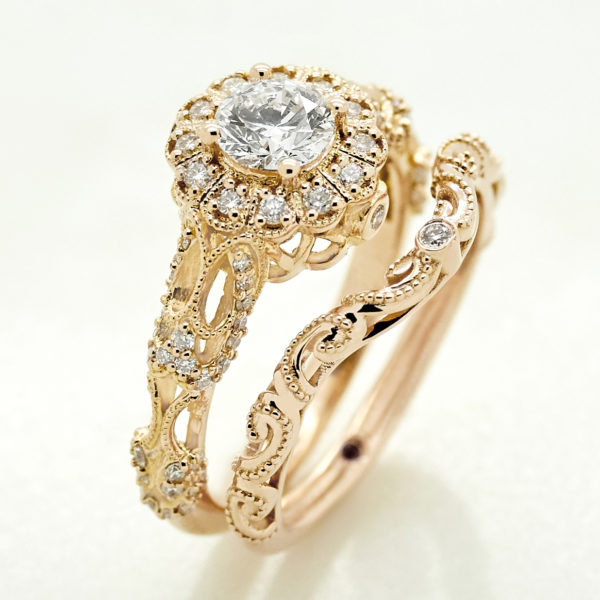 filigree custom engagement ring with matching wedding ring