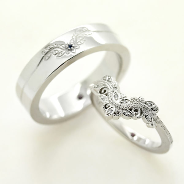 matching organic floral wedding ring set design mens ladies
