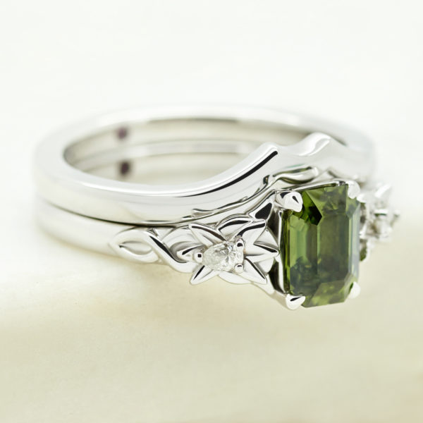 green sapphire engagement ring organic floral nature inspired with fitted polished wedding ring