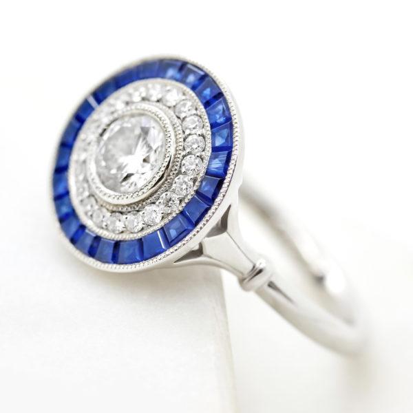 lab grown diamonds engagement ring with blue sapphire custom cut halo